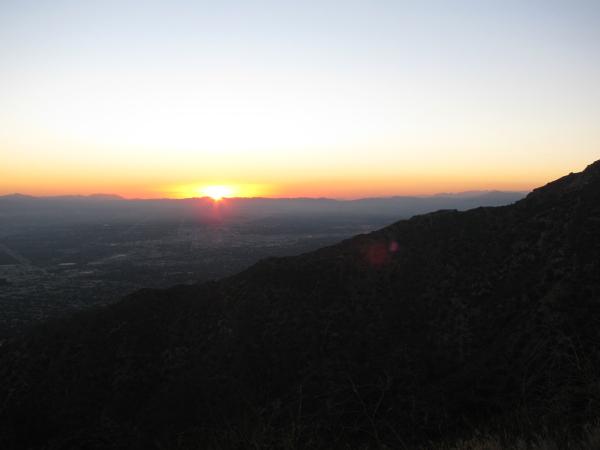 The sun setting over Burbank.