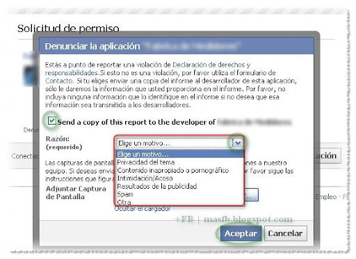 Justificación Denuncia Facebook Aplicacion