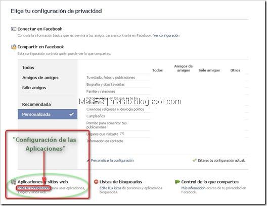 Configuracion de las Aplicaciones Facebook