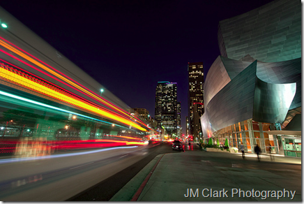 Long exposure - Bus lights Walt Disney Concert Hall