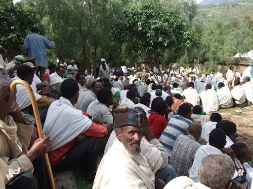Everyone dresses in their best white robes for Sunday church services in Ethiopia.