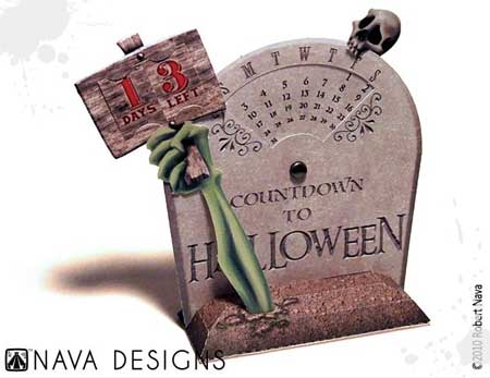 Halloween Countdown Tombstone Papercraft