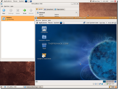 VirtualBox running Fedora 10 on Ubuntu 8.10 - theprohack.com