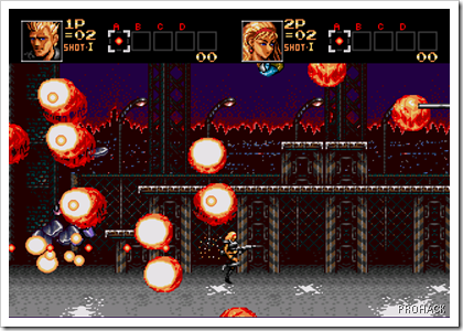 Explosions everywhere,bullets mashing robots..its Contra