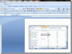 Tabel Excel di Word dalam keadaan aktif