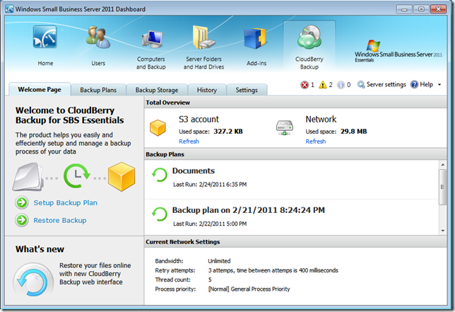 CloudBerry Backup add-in now supports SBS 2011 Essentials