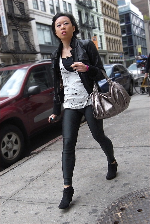 w black leather jacket metallic bag splatter print top leggings