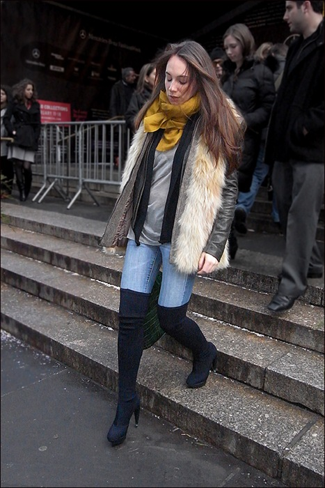 w fur vest thigh high boots yellow scarf