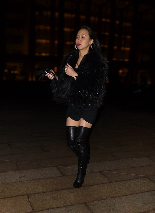 w black thigh high louboutin boots black feather coat