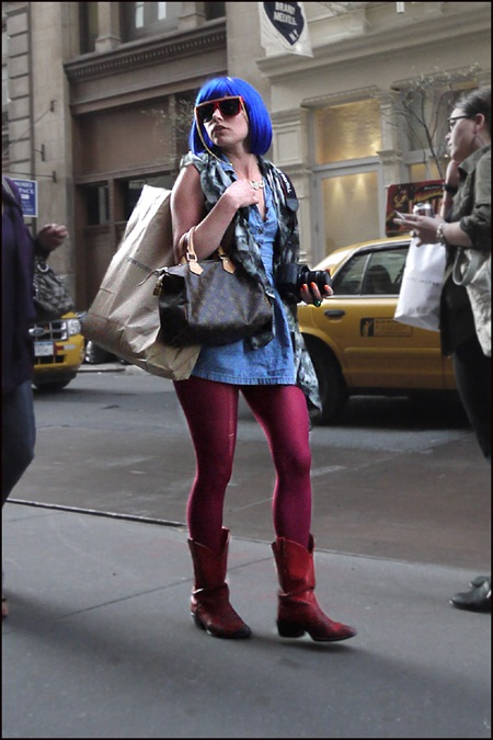 w denim mini dress lv bag magenta leggins blue wig big shades 2