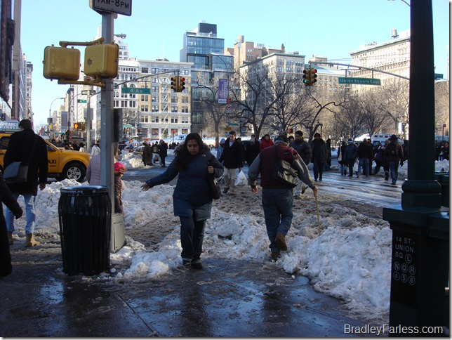 Slushy areas where people have to cross the street.