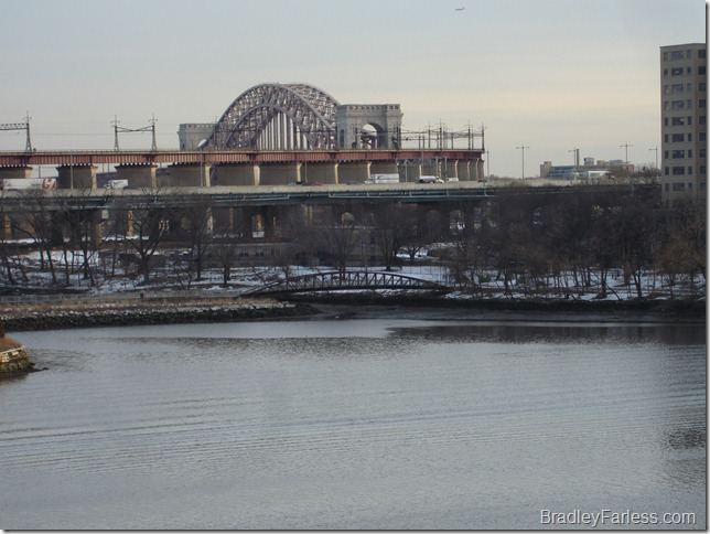 A portion of the Triborough Bridge and Hell Gate Bridge.