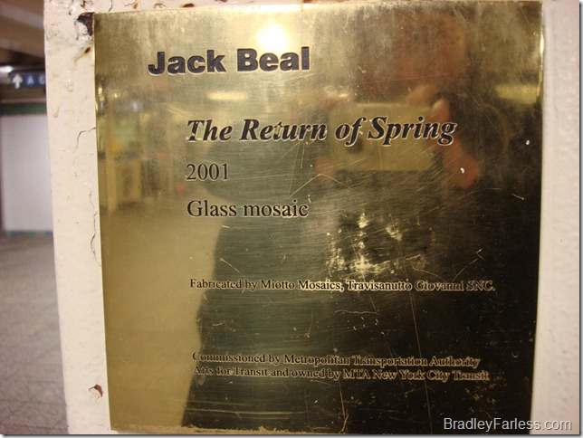 The information plaque for Jack Beal's glass mosaic at Times Square station.