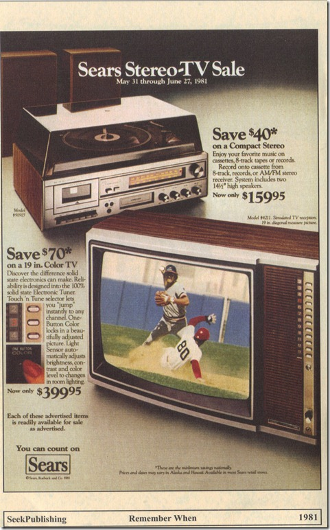 1981 Sears Stereo-TV Sale Print Ad