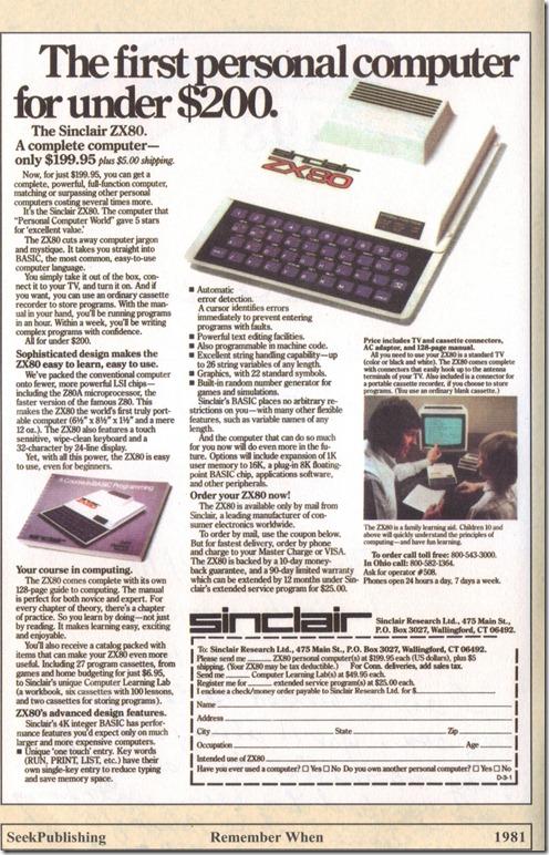1981 Sinclair ZX80 Print Ad.