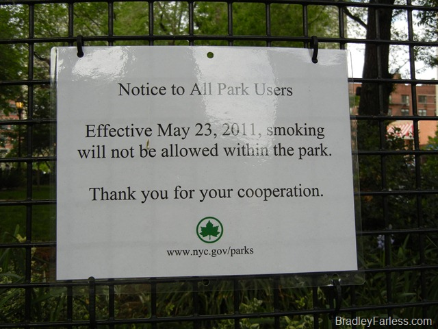 Notice stating that there is no smoking allowed in NYC parks after May 23rd.