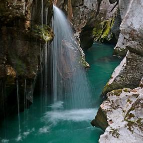 Soča by Blaz Crepinsek - Landscapes Waterscapes ( vaterfall, velika korita, soča river, slovenia,  )