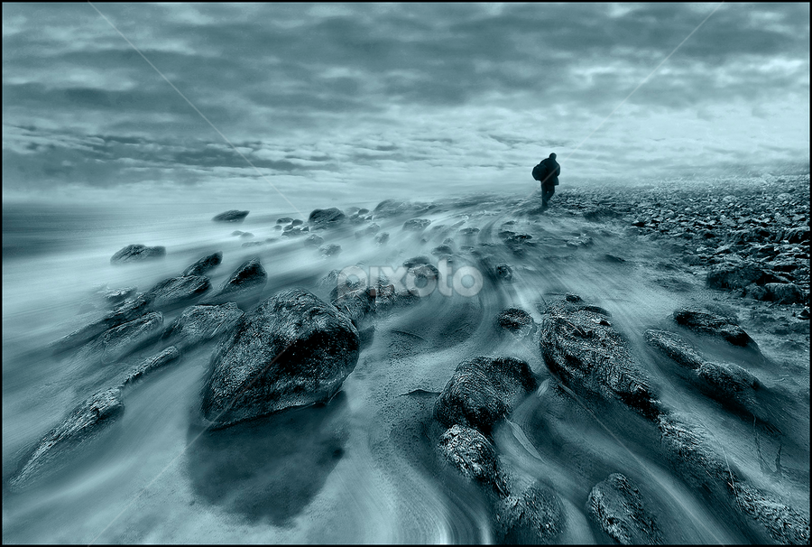 On the trail of unknown  by Mirsad Mujanović - Landscapes Travel ( fog, stone, lake, unknown, men )
