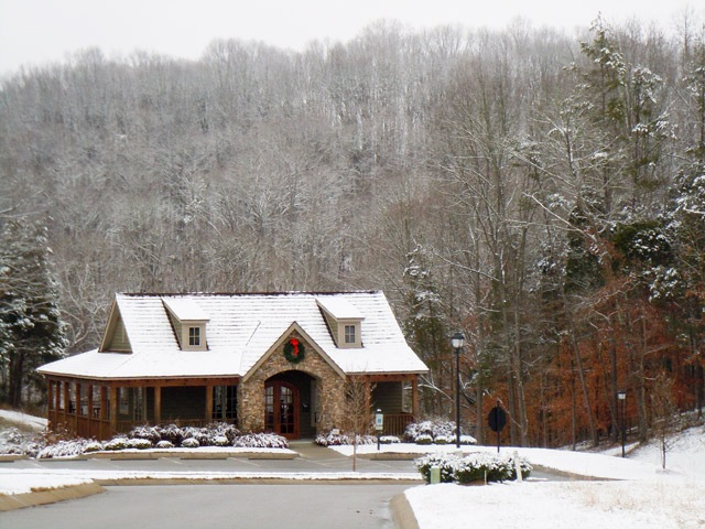 clubhouse with snowfall
