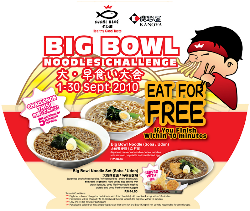 Sushi King Big Bowl Noodles Challenge Eat For Free