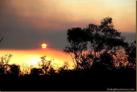 Sun setting into a bush fire - Northern Territory - Australia