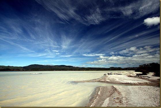 Beach sky lake Rotorua sulphur