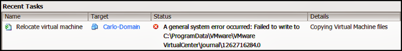 A general system error occurred: Failed to write to <Path>.