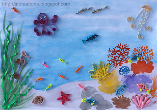 Sea world: quilled picture
