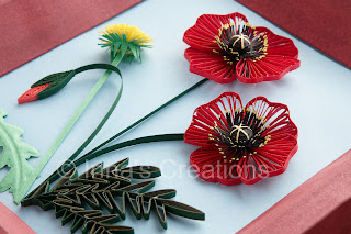 Quilled poppies, detail