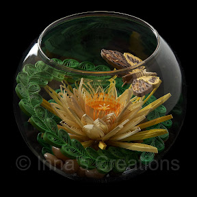Quilling in a fish bowl, side view