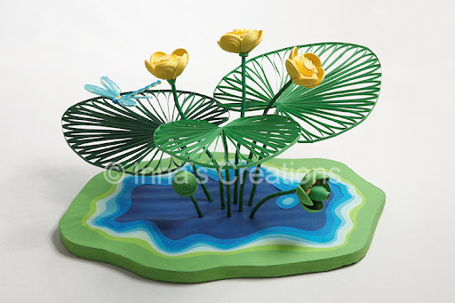 Innas creations paper sculpture 3d quilled nuphar flowers nuphar paper sculpture mightylinksfo
