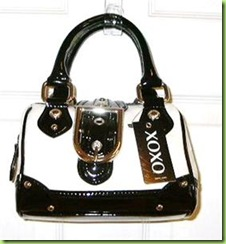 Authentic Xoxo Angie White Black Handbag Purse Nwta