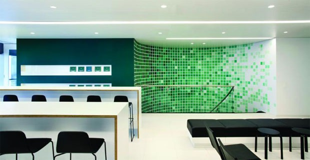 Exotic example of use of color in commercial and industrial interior design
