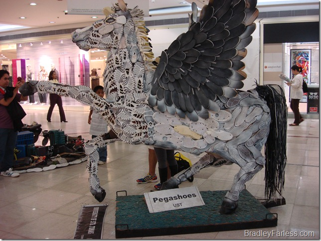 Pegashoes, an artistic recreation of Pegasus using the soles of shoes.