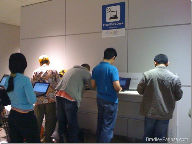 Google sponsored free wi-fi at Narita Airport in Tokyo Japan.