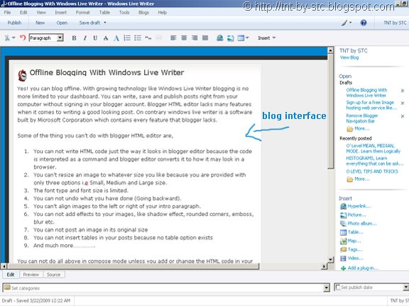 windows live writer interface