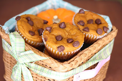 photo of Chocolate Chip Pumpkin Muffins in a basket