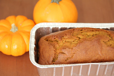 close-up photo of a loaf of pumpkin bread in a pan