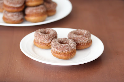 photo of three Mini Apple cider donuts on a plate