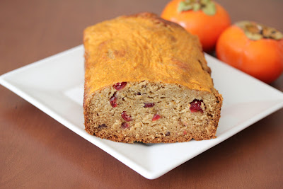 photo of a loaf of Cranberry persimmon bread