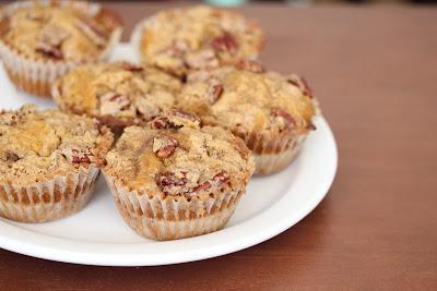 photo of Pecan streusel pumpkin muffins on a plate
