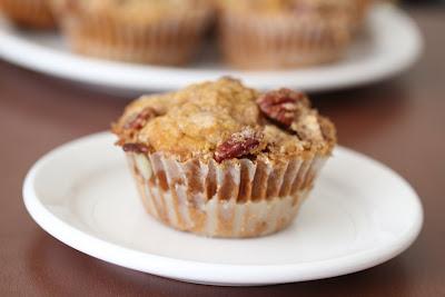 close-up photo of a Pecan streusel pumpkin muffin