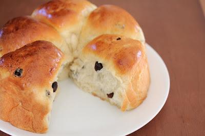 freshly baked soft and fluffy raisin rolls