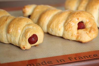 close-up photo of two sausage rolls