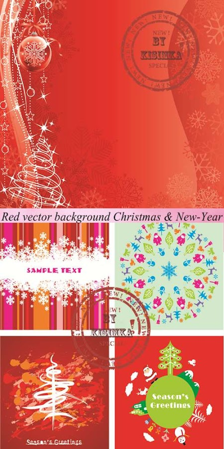 Stock: Red vector background Christmas & New-Year