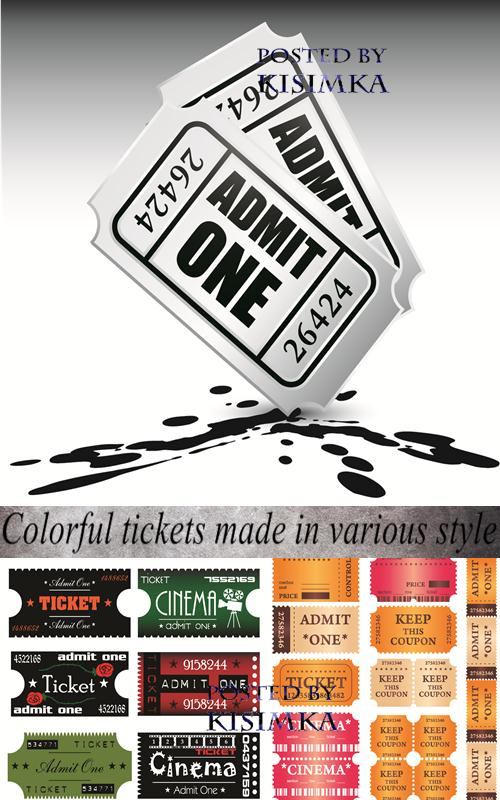 Stock: Colorful illustration with  tickets made in various style