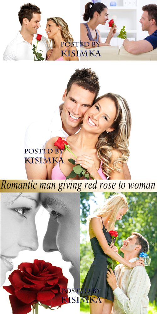 Stock Photo: Romantic man giving red rose to woman - Valentine Day