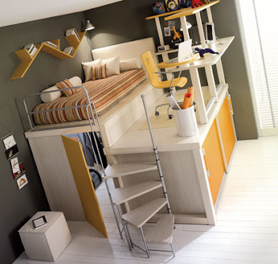 This one, also from Dornob and made by TumideiSpa, has everything: a closet  underneath, stairs to the top, and desk space to boot.