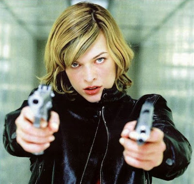 Milla Jovovich with two guns