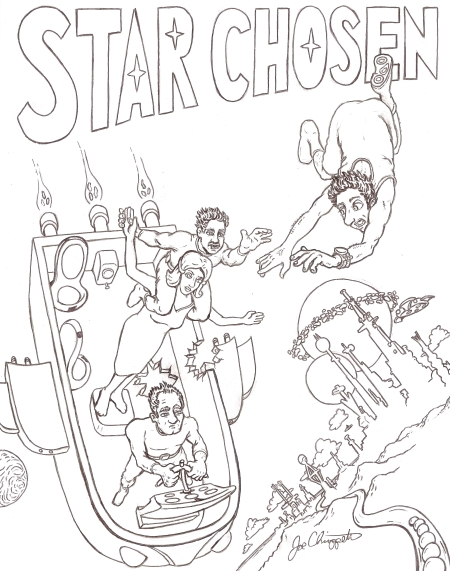 Black and white original Star Chosen novel cover art by Joe Chiappetta